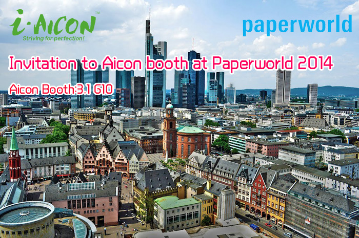Invitation to Aicon booth at Paperworld 2014